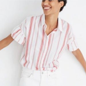 Madewell Striped Ruffle Sleeve Button Down Shirt